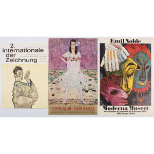 [FINE ART] -- [KLIMT, Gustave, Edvard MUNCH, Emil NOLDE, and Egon SCHIELE]. A group of 5 exhibition posters for Symbolist and Expressionist artists, comprising: