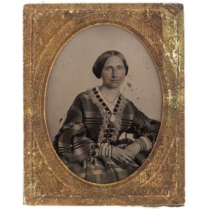 [EARLY PHOTOGRAPHY] -- [ALCOTT, Elizabeth Sewall (1835-1858)]. Ninth plate ruby ambrotype attributed to Elizabeth Sewall Alcott. N.p., [ca 1856-1857].