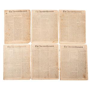 [PRE-REVOLUTIONARY WAR - DICKINSON, John (1732–1808)]. Boston Chronicle. Vol. 1, Nos. 1-3, 5, 7-9, 12. Boston, 21 December 1767-7 March 1768.