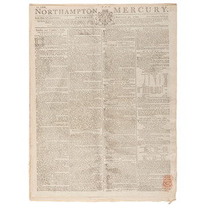 [MUTINY ON THE BOUNTY]. Mutiny of the HMS Bounty covered in 2 issues of the Northampton Mercury. Vol. LXXI. Northampton: T. Dicey & Co., 30 October 1790, 27 March 1790.