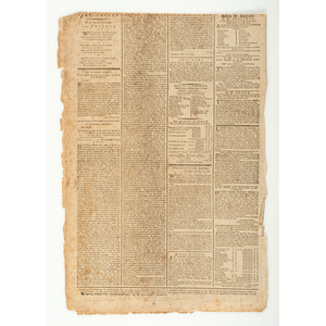 [REVOLUTIONARY WAR - TREATY OF PARIS]. Parker's General Advertiser, and Morning Intelligencer. No. 2166.  London: W. Parker, 17 October 1783.