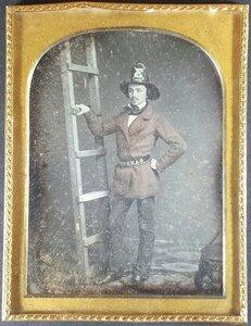 [EARLY PHOTOGRAPHY]. Half plate daguerreotype of firefighter Walter Van Erven Dorens. [San Francisco]: n.p., [ca 1854-1856].