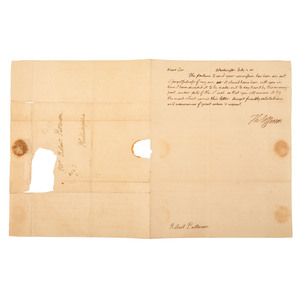 """JEFFERSON, Thomas (1743-1826). Autograph letter signed (""""Th. Jefferson""""), as United States President, to Robert Patterson. Washington DC, 2 July 1805. 1 page, 4to, evenly toned, small tear from seal."""