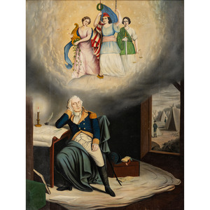[WASHINGTON, George (1732-1799)]. Original oil painting of the first president after Currier & Ives' Washington's Dream. [Ca late 19th century].