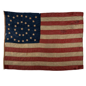 [FLAGS & PATRIOTIC TEXTILES]. 35-star flag with circular star pattern. [Ca 1863-1865].