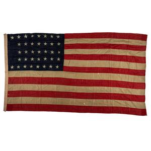[FLAGS & PATRIOTIC TEXTILES]. 37-star flag. [Ca 1867-1876].