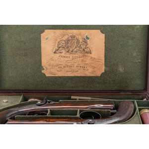 Cased Pair of English Percussion Overcoat Pistols by James Collins
