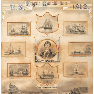 [WAR OF 1812] PEIRCE, A.B., artist. Commemorative presentation display of illustrations featuring the USS Constitution and its commander, Captain Isaac Hull (1773-1843).