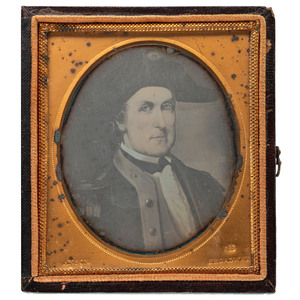 [EARLY PHOTOGRAPHY] -- [REVOLUTIONARY WAR]. Sixth plate daguerreotype of painting of Colonel Elijah Clarke (1733-1799). New York: Anson, [ca 1853-1860].
