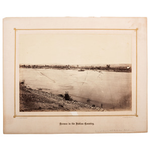 [WESTERN AMERICANA]. GARDNER, Alexander (1821-1882), photographer. View at Ferry on the North Platt near Fort Laramie. Washington, DC: 1868.