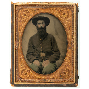 [CIVIL WAR]. Quarter plate tintype of bearded Union cavalry private. N.p.: n.p., [ca 1860s].