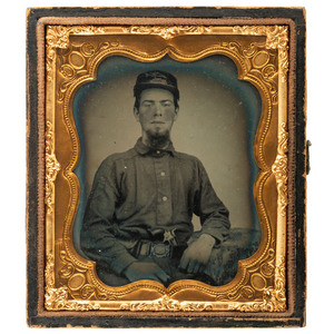 [CIVIL WAR]. Sixth plate ruby ambrotype of early militiaman, possibly from Rhode Island, with Colt Root revolver. N.p.: n.p., [ca early 1860s].