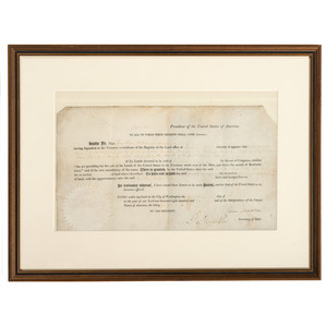 """MADISON, James (1751-1836). Document signed (""""James Madison""""), as President. N.p.: 23 May 1810. 1 page, sight 15 x 8 1/2 in., partly printed land grant on parchment, framed."""