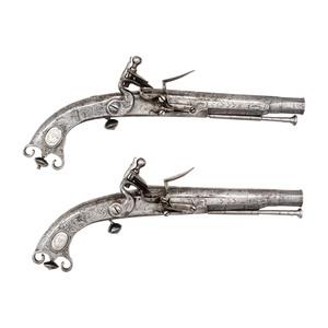 Fine Pair of Scottish Steel Flintlock Ram's Butt Pistols by John Campbell Attributed to Kenneth McKenzie leader of Clan McKenzie
