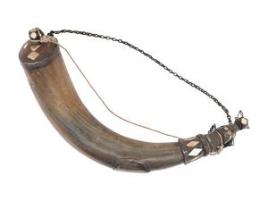 Antique Powder Horn Owned by Benjamin Kinsett