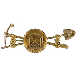 Outstanding Figural Gold Mining Nugget Brooch,