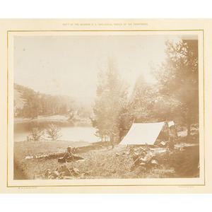 William Henry Jackson Photograph of the Hayden Expedition Camp on Mystic Lake,