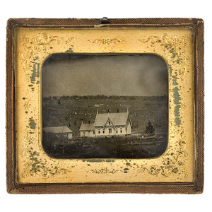 Half Plate Ambrotype of a Building in Marysville, California,