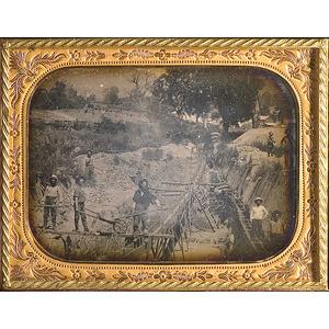A Fine Quarter Plate Daguerreotype of a California Gold Mining Operation,