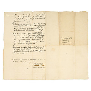 Manuscript Signed by British Tory Joseph Galloway,