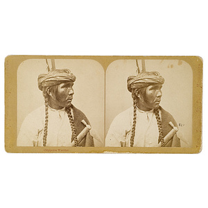 Charles A. Zimmerman Stereoview of Chippewa Warrior,