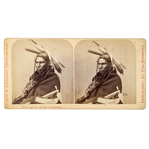 Charles A. Zimmerman Stereoview of Mah-Je-Gah-Bo (He Looks Well Standing),