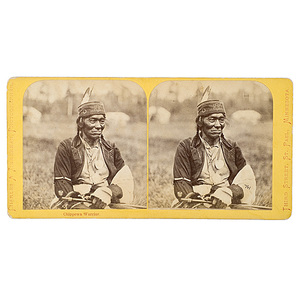 Charles A. Zimmerman Stereoview of a Chippewa Warrior,