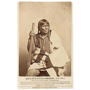 CDV of Qui-wi-sain-shish (Bad Boy), Chief of Gull Lake Chippewas,
