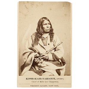 CDV of Kish-kah-nah-cut (The Stump), Chief of Mille Lac Chippewas,