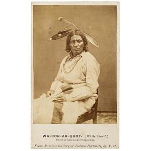 CDV of Wa-bon-au-quot (White Cloud), Chief of Gull Lake Chippewas,