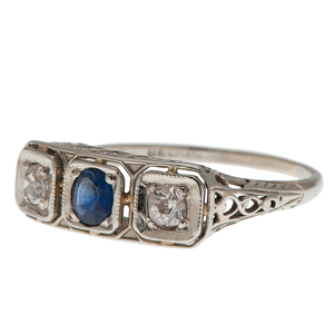 Belais Diamond and Sapphire Ring in 18 Karat White Gold