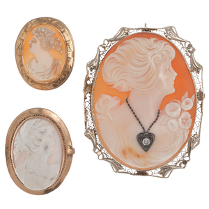 Cameo Brooches in 10 Karat and 14 Karat Yellow Gold