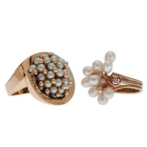 Pearl Rings in 14 Karat Yellow Gold