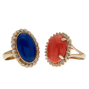Coral and Lapis Rings with Diamonds in 14 Karat Yellow Gold