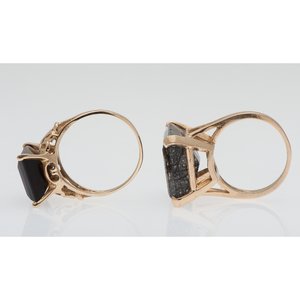 Rutilated Quartz and Smoky Quartz Rings in Karat Gold