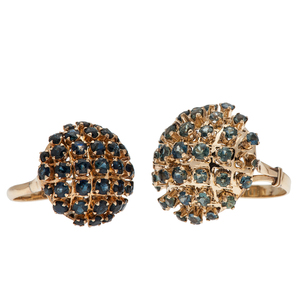 Sapphire Cluster Rings in 14 Karat Yellow Gold