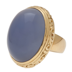 Sarosi Lavender Chalcedony Ring in 18 Karat Yellow Gold