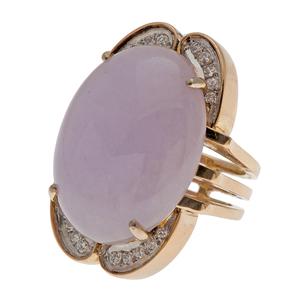 Lavender Jade Ring in 14 Karat Yellow Gold with Diamonds