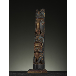 Antique Attributed Model Wood Totem Pole, Circa 1900,  height 14.75