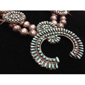 Zuni Turquoise Petit Point Silver Squash Blossom Necklace