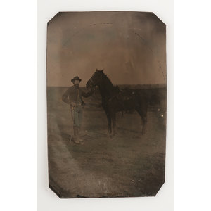 Civil War Tintypes of Soldiers with their Horses, Lot of 2