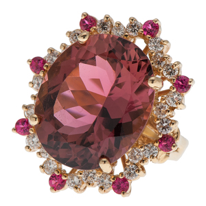 Sarosi Pink Tourmaline and Rubellite Ring With Diamonds in 18 Karat Yellow Gold