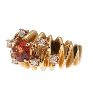 Spessartite Garnet Ring with Diamonds