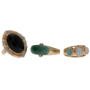 Jade, Onyx and Scarab Rings in 14 Karat Yellow Gold