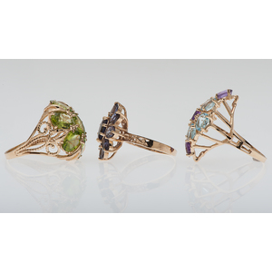 Semi Precious Gemstone Rings in 10 Karat Yellow Gold
