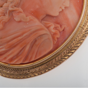 Coral Cameo Brooch in 14 Karat Yellow gold