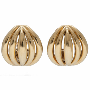 Fluted Dome Earrings in 14 Karat Yellow Gold