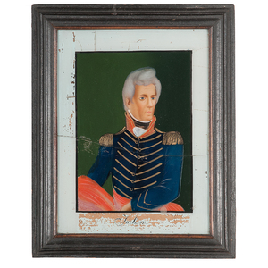Reverse Painted American Portraits Including Andrew Jackson and Daniel Webster