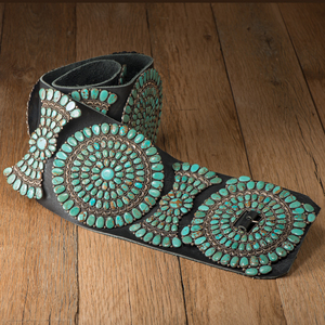 Jack Weekoty (Zuni, b. 1916) Turquoise and Sterling Silver Concha Belt