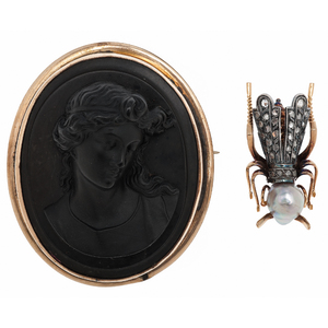 Horsefly Brooch in 18 Karat and Silver with Rose Cut Diamonds and a Pearl PLUS